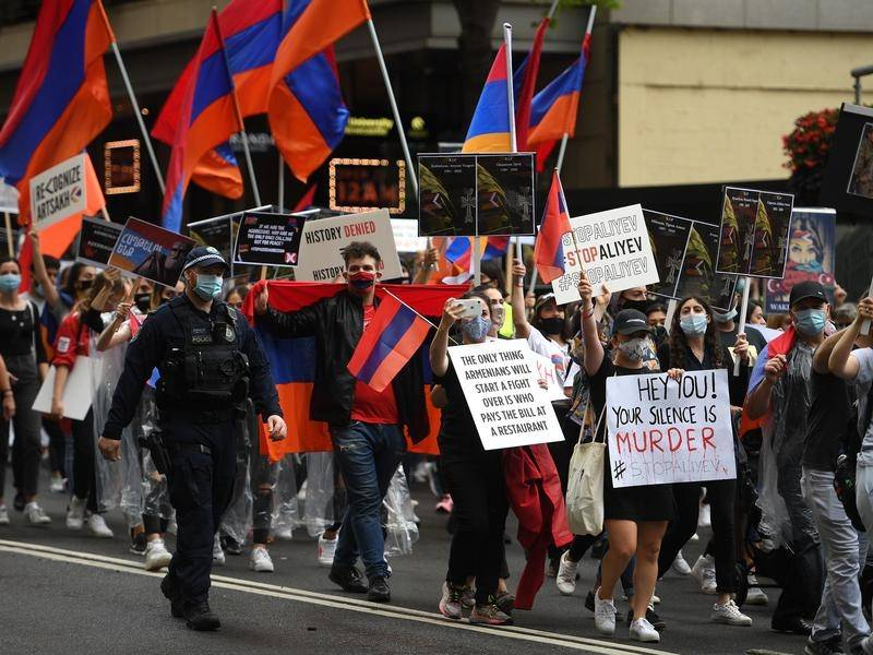 Armenian-Australians have marched in Sydney over the conflict in Nagorno-Karabakh.